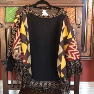 Muk Luks Poncho Yellow Native American Print NWT